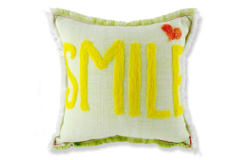 レタードクッション「SMILE」♪手作りの優しさをプレゼントにlight green+white 35×35