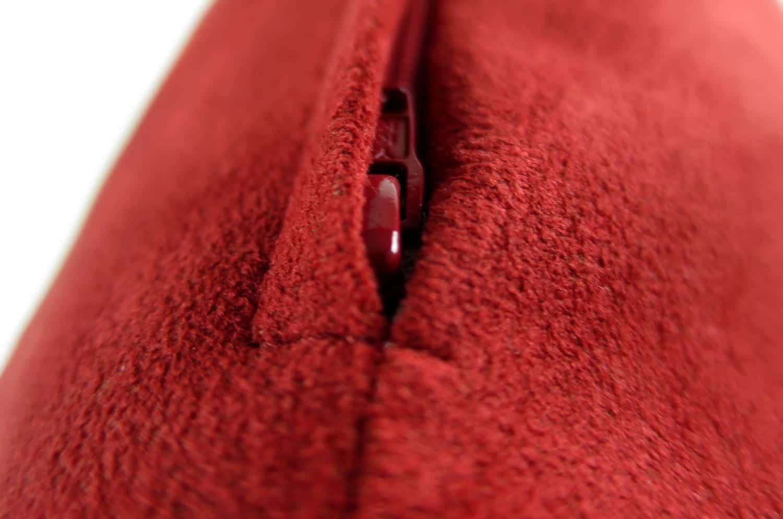 高級Fake Leather スエード ディープレッド クッション 45×25 中材付