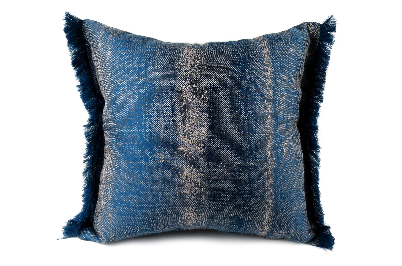 The ALDECO Linen Majolica-Blue アルデコフリンジクッションカバー ブルー 40×40cm