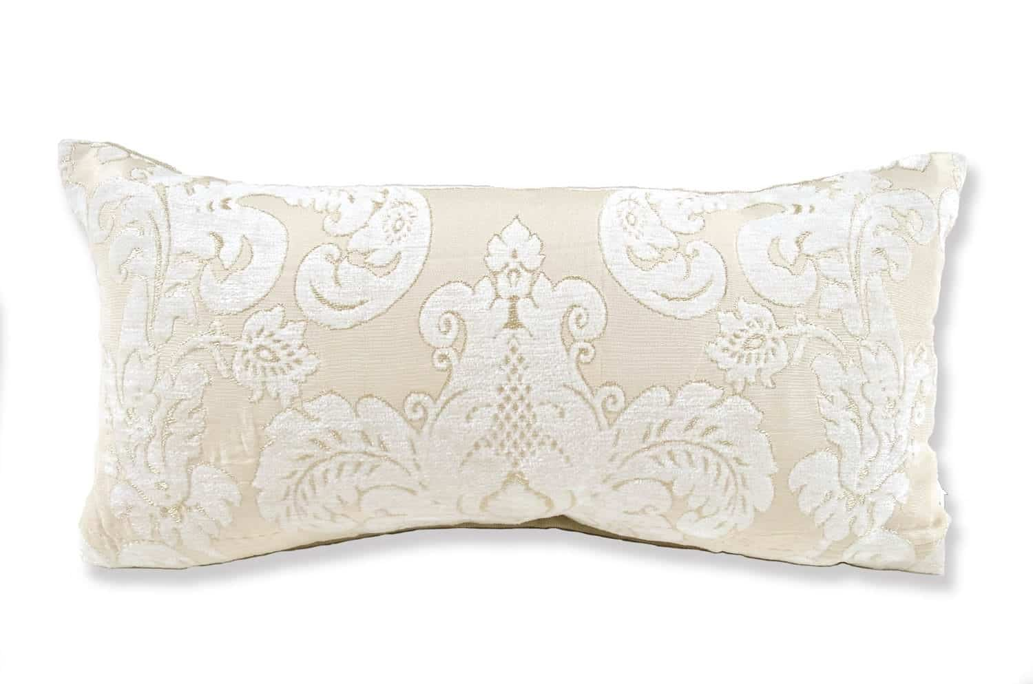 The Pearl White Damask パールホワイトダマスク柄クッション 40×20cm 中材付