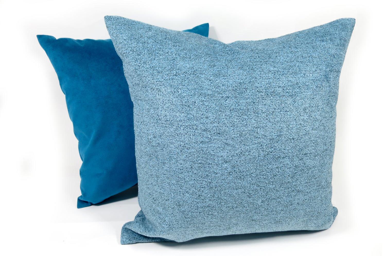 柔らか素材 ウォッシャブル ブルー クッションカバー 50×50