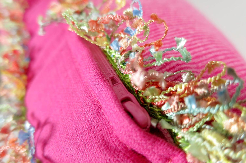 The Colorful Double Fringe 花畑カラフルダブルフリンジクッションカバー ピンク 50×50cm