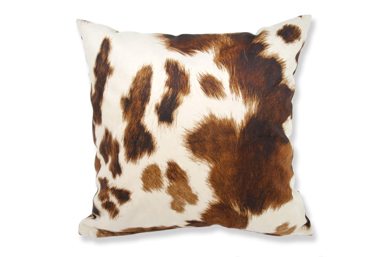 The Cow スペイン製起毛スエードタッチ 牛柄クッションカバー ライトブラウン 45×45cm