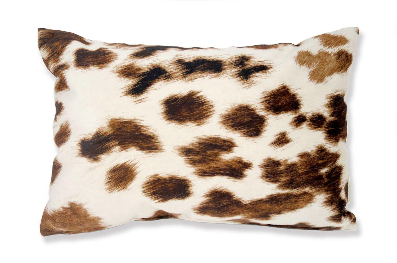 The Cow スペイン製起毛スエードタッチ 牛柄クッション ライトブラウン 45×30cm 中材付