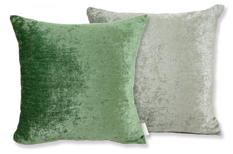 ソフト ベロア クッションカバー olive green+sea green 40cm/45cm/50cm