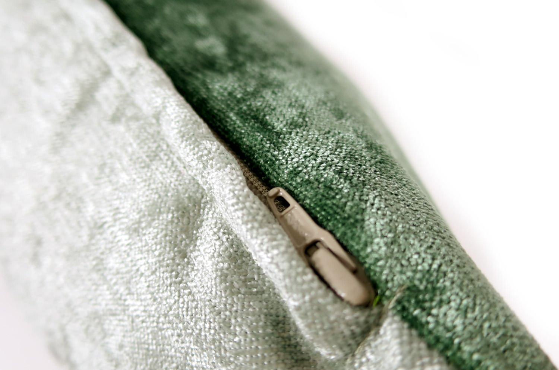 ソフト ベロア クッションカバー olive green+sea green 40cm/50cm