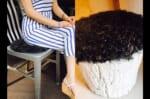 The Cute Curlくるくるカールのカルガンラム ラウンドシートクッション グレー Φ30cm