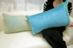 The Colorful Fringe 花畑カラフルダブルフリンジクッション ターコイズブルー 34×60cm 中材付