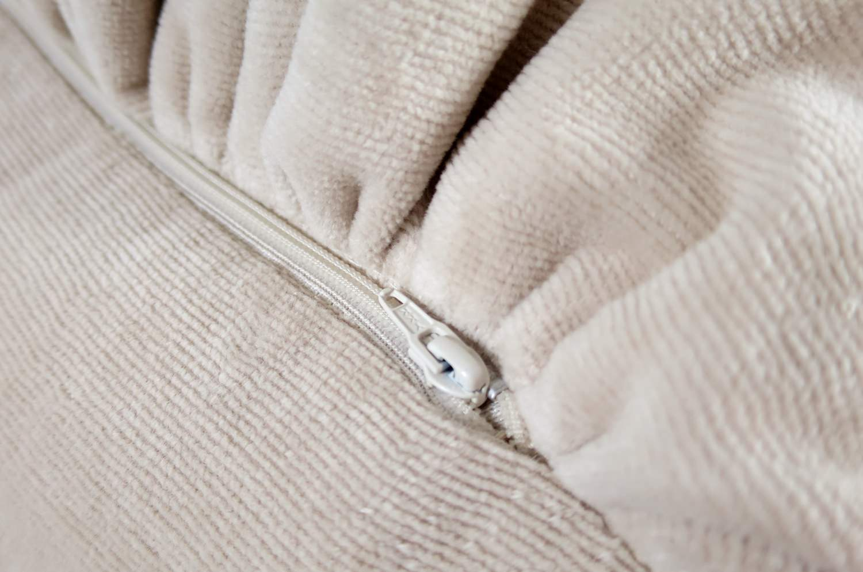ベルベット風 シャーリングタオル フリル クッション ペールローズ 50×28(64×42) 中材付