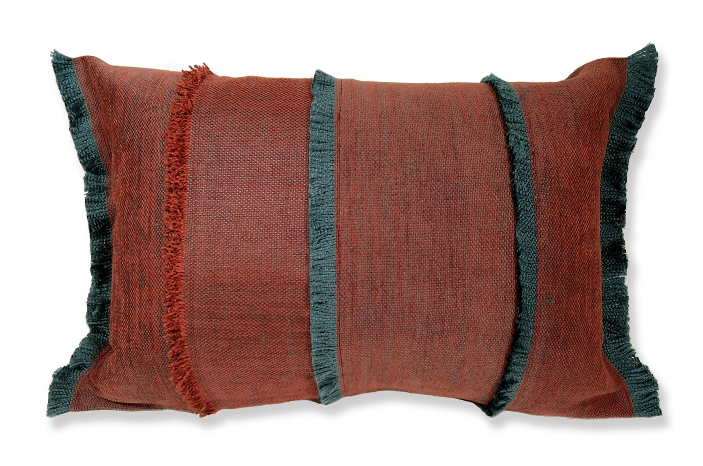 The Mix Red Jacquard ジムトンプソンフリンジクッション ミックスレッド 56×40cm 中材付