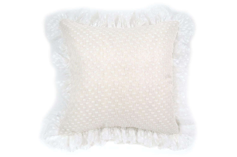 The Lace Frill 可憐レースの透け感繊と華やかさのフリルクッションカバー 45×45cm