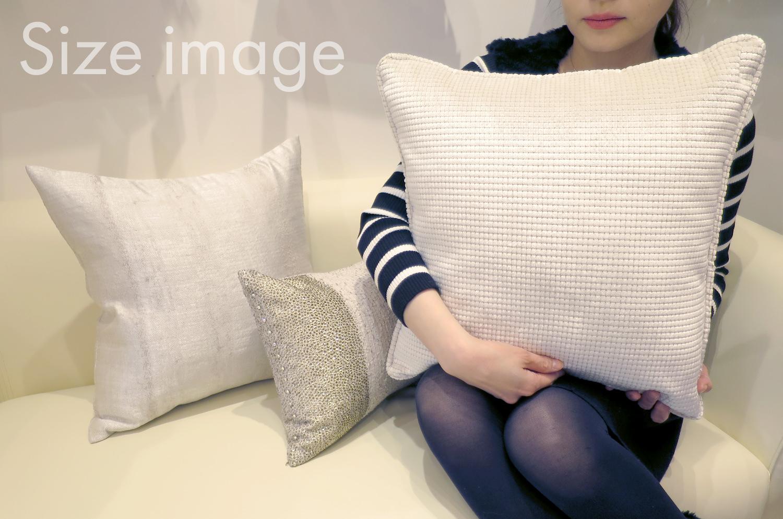 ホワイトシャイン カットベルベット クッションカバー 45×45 白
