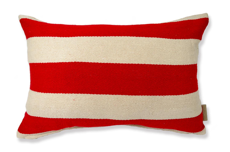 The Red Stripe レッドストライプコットン横長クッション 45×30cm 中材付