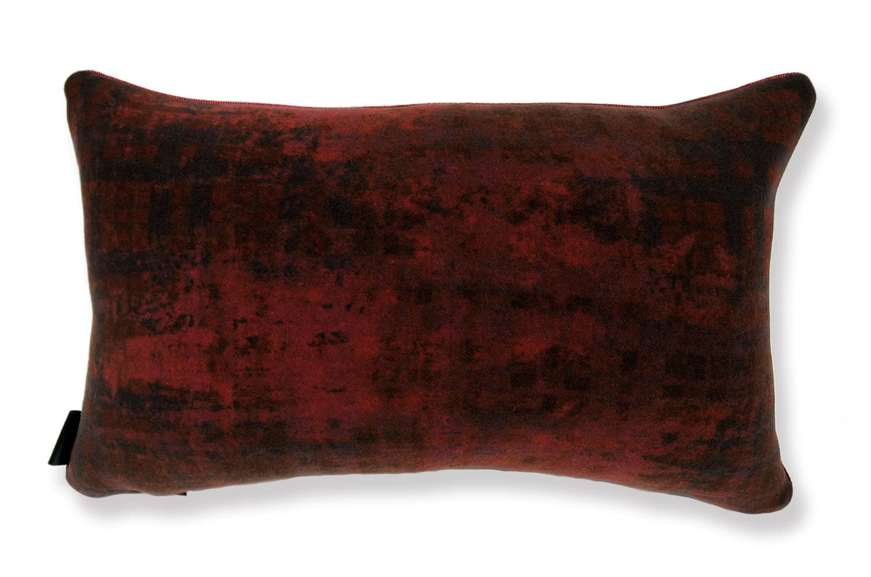 イタリア製 高級ウール ダークレッド 柔らかクッション横長 50cm×30cm 中材付