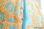 The Long Leopard ナチュラルヒョウ柄ロングクッション スカイブルー 70×36cm 中材付