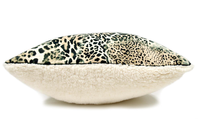 The Leopard & Boa ヒョウ柄クッションカバー スペイン起毛スエード調×柔らかボア 45×45cm