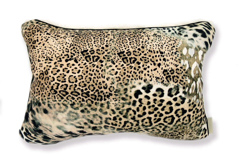 The Leopard & Boa ヒョウ柄クッション スペイン起毛スエード調×柔らかボア 45×30cm 中材付