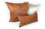 The Light brown Crocodile スペイン製 起毛スエード調 クロコダイル柄クッションカバー ライトブラウン 50×50cm