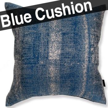 ポルトガル生地 Linen マジョルカブルー アルデコクッションカバー 麻 ブルー 45