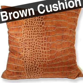 スペイン製 起毛スエード調 ライトブラウン クロコダイル柄 クッションカバー 50×50