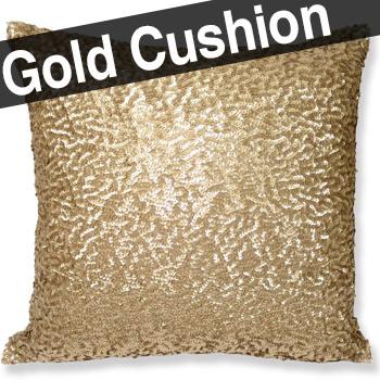細かく繊細なゴールド スパンコールを全面に使用したゴージャスなクッションカバー 45×45