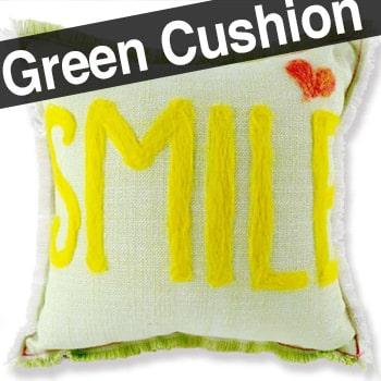 レタードクッション「SMILE」♪手作りの優しさをプレゼントにライトグリーン+ホワイト 35×35