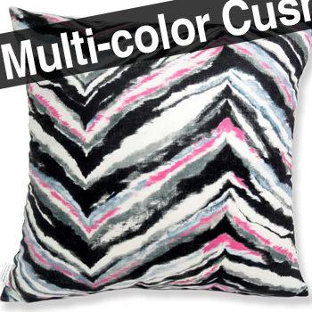 スペイン製生地 起毛スエード調 zigzag カラー クッションカバー 50×50