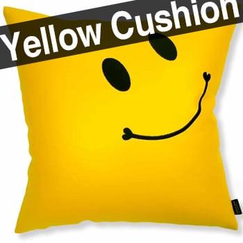 スマイル 『ニコフェイス®』/スマイリー黒刺繍の幸せ黄色クッションカバー 45×45
