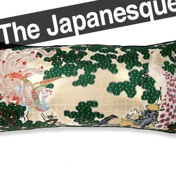 The Japan 孔雀鳳凰図 西陣 ビッククッション 和柄 75×36×5 中材付