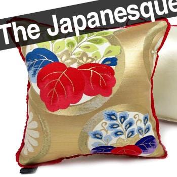 日本のアンティーク帯地を甦らせた小さめキュートな桐紋様〈緋〉クッション 28×28