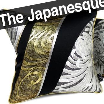 日本のアンティーク帯地を甦らせた小さめキュートな乱菊紋<銀金>クッション 28×28