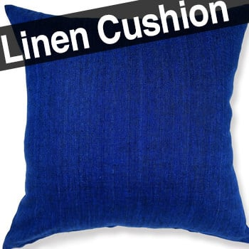 天然素材リネンクッションカバー 柔らかインデゴブルー色 45×45