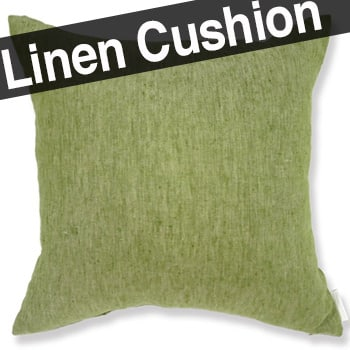 天然素材リネンクッションカバー グリーン 45×45