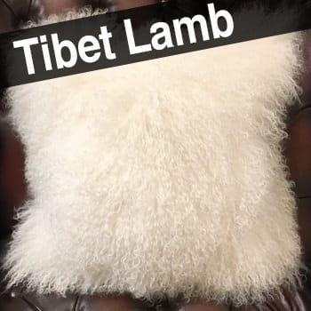 贅沢両面チベットラムホワイトクッションカバー 40×40