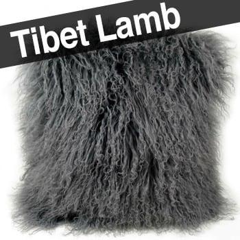 贅沢両面チベットラム クールグレー クッションカバー 40×40