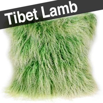 チベットラムミックスグリーンクッションカバー 45×45