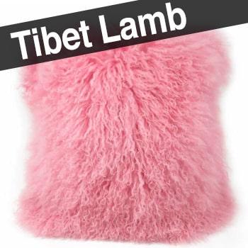 贅沢両面チベットラム ピーチピンク クッションカバー 40×40