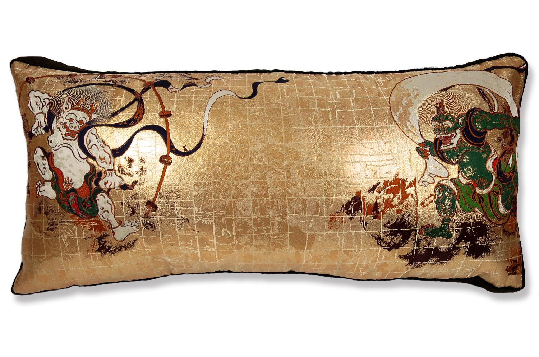 The Fujin Raijin 風神雷神図 西陣 ビッグクッション 76×36×5cm 中材付