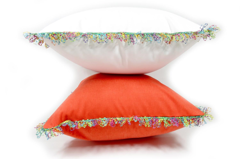 The Colorful fringe 花畑カラフルフリンジクッションカバー オレンジ 45×45cm