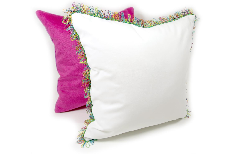 The Colorful fringe 花畑カラフルフリンジクッションカバー ホワイト 45×45cm