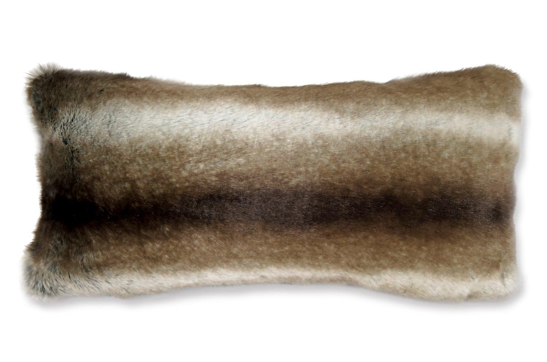 至極の手触りSAHCOグリズリー柄 横長クッション 56×28cm 中材付