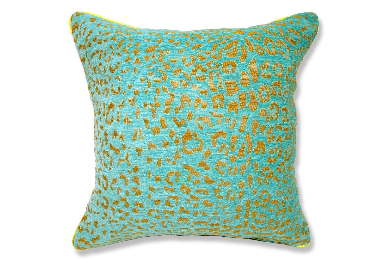 The Turquoiseblue Leopard ヒョウ柄ベルベットクッションカバー ターコイズブルー 45×45cm