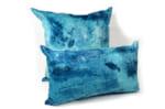 The Blue Fluid  スペイン製 起毛スエード調 クッション ブルー 50×30cm 中材付