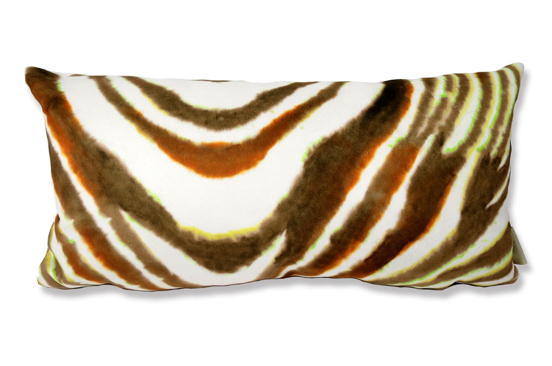 The Amber Zebra スペイン製 起毛スエード調 ゼブラ柄クッション 50×25cm 中材付