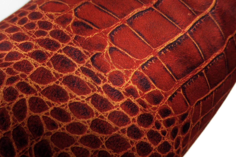 スペイン製 起毛スエード調 レディッシュブラウン クロコダイル柄 クッションカバー 50×50cm