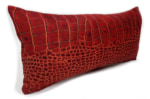 The Reddishbrown Crocodile スペイン製 起毛スエード調 クロコダイル柄クッション レディッシュブラウン 50×25cm 中材付
