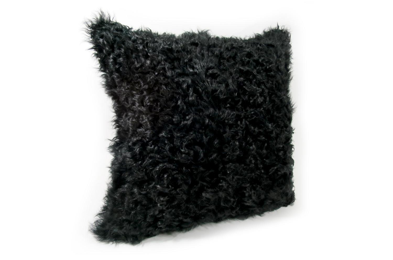 The Cute Curl くるくるカールカルガンラムクッション ブラック 40×40cm 中材付