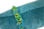 The Colorful Fringe 花畑カラフルフリンジクッション ピーコックグリーン 66×38cm 中材付