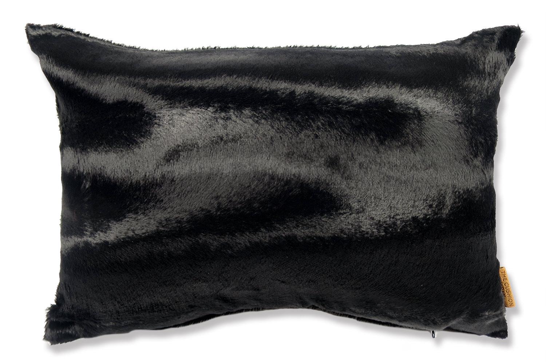 The Wolf 至極の手触りエコファークッションカバー ブラック 45×30cm 中材付