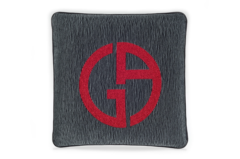 【海外取寄品】The ARMANI/CASA JANETTE アルマーニカーザジャネットクッション ANTHRACITE/RED 40×40cm 中材付